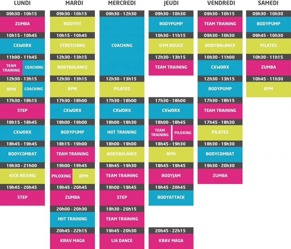 planning-Neofitness-Salle de fitness angers-club de remise en forme angers-Les Mills angers-Montreuil-Juigné-Angers 49